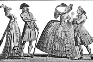 "a look into french revolution fashion western civilization ii guides women s dress during the early days of the regency of louis xiv dress was dominated by the ""frondeuse "" and there was a gradual transition from the broad"