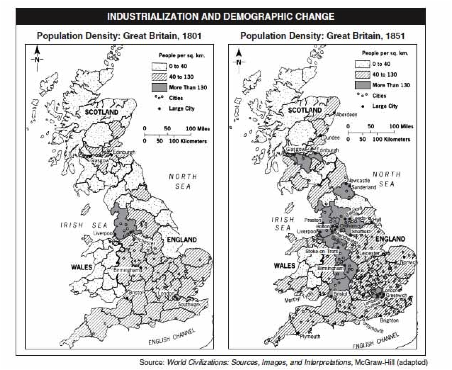 Urbanization Map During The Industrial Revolution Urbanization Industria...